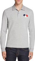 Moncler Triple Logo Long Sleeve Regular Fit Polo Shirt