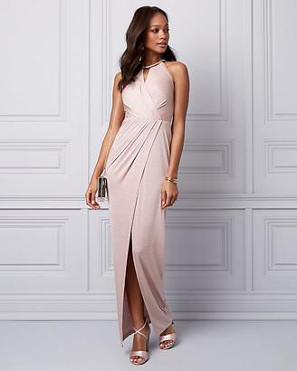 Le Château Sparkle Knit Wrap-Like Gown
