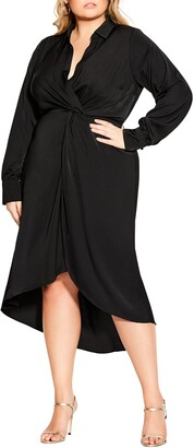 City Chic Sleek Long Sleeve Faux Wrap Dress