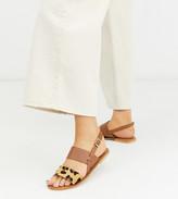 ASOS DESIGN Wide Fit Foxglove leather flat sandals in leopar