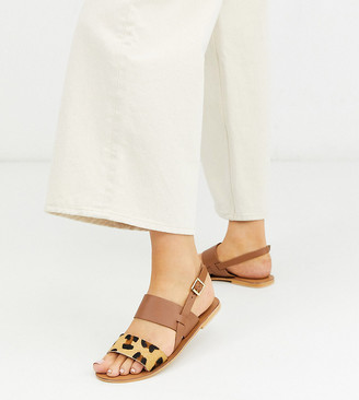 ASOS DESIGN Wide Fit Foxglove leather flat sandals in leopard