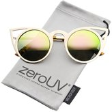 Zerouv Womens Fashion Round Metal Cut-Out Flash Mirror Lens Cat Eye Sunglasses