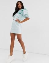 Asos Design DESIGN denim metallic mini dress with high neck and frill detail