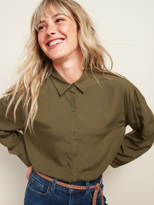 Old Navy Oversized Soft-Woven Twill Tunic Shirt for Women
