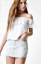 PacSun Destructed Light Denim Mini Skirt