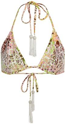 Dundas Printed Sequin Bikini-Style Top