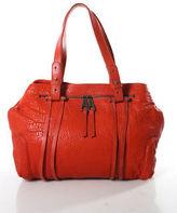 Pour La Victoire Orange Leather Medium Double Banded Satchel Handbag