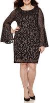 Tiana B Bell-Sleeve Lace Sheath Dress - Plus