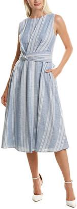 Maggy London Tie-Waist Linen-Blend Midi Dress