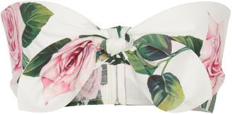 Dolce & Gabbana Tie-Front Floral-Print Cotton-Poplin Bandeau Top
