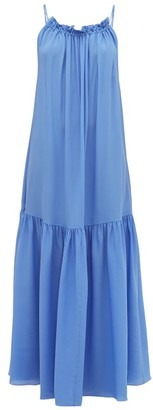 Three Graces London Tatyana Gathered Scoop-back Silk Maxi Dress - Blue