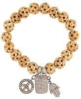 Loree Rodkin carved wood diamond charm bracelet