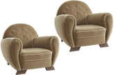 Rejuvenation Pair of Arched-Back Art Deco Lounge Chairs in Original Velvet