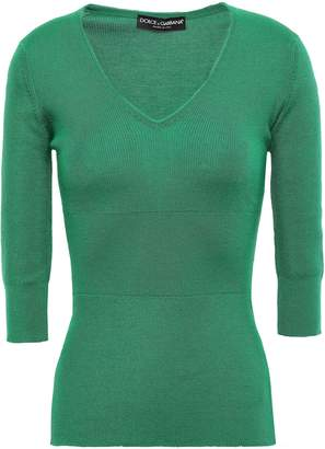 Dolce & Gabbana Ribbed Cashmere And Silk-blend Top
