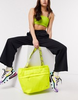 Nike tote bag in neon yellow with taping strap