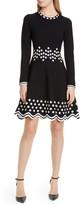 Lela Rose Diamond Jacquard Long Sleeve Fit & Flare Sweater Dress