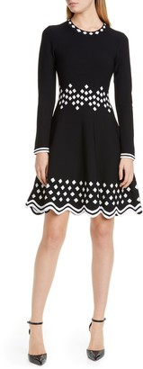 Lela Rose Diamond Jacquard Long Sleeve Fit & Flare Sweater Dress