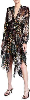 Etro Printed Handkerchief Silk Midi Dress