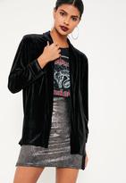 Black Slouchy Velvet Blazer, Black