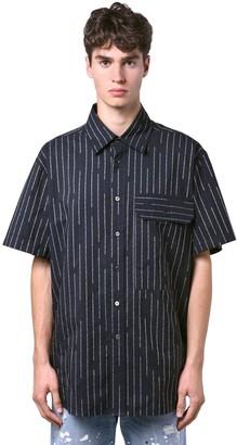 Unravel Logo Pinstripe Cotton Short Sleeve Shirt