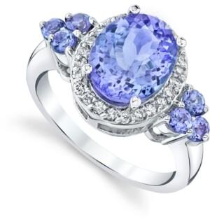 Macy's Tanzanite (3 ct. t.w.) & Diamond (1/4 ct t.w.) Ring in 10k White Gold