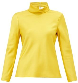 Maison Rabih Kayrouz High-neck Satin Top - Womens - Yellow