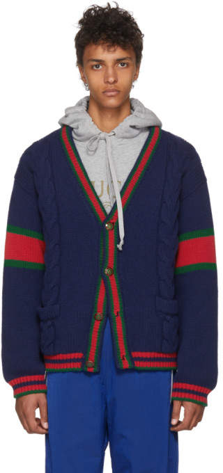 Gucci Blue Cable Knit Wool Cardigan