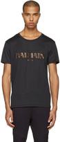 Balmain Black Mylar Logo T-Shirt
