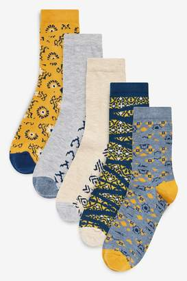Next Womens Blue/Yellow Tile Geo Ankle Socks Five Pack - Blue
