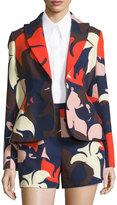 DELPOZO Bold Floral-Print One-Button Jacket