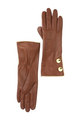 Kate Spade button leather gloves