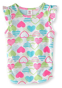 Little Miss Attitude Girls' 2T-6X Multi Heart Print Flutter Sleeve Tank