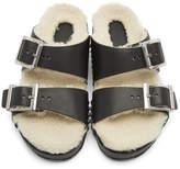 alexander mcqueen black and off white shearling strap sandals herren. Black Bedroom Furniture Sets. Home Design Ideas