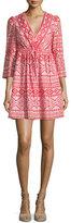 BCBGMAXAZRIA Jacky 3/4-Sleeve Tribal-Print Dress, Bright Poppy Combo