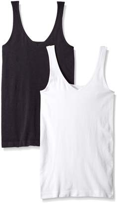 Ellen Tracy Women's Seamless Reversible 2 Pack Camisole black/White S