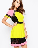 French Connection Arrow Lace Dress in Allsorts Color Block