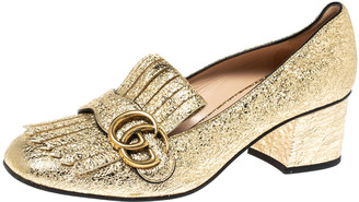 Gucci Metallic Gold Foil Leather GG Marmont Fringe Detail Block Heel Pumps Size 37