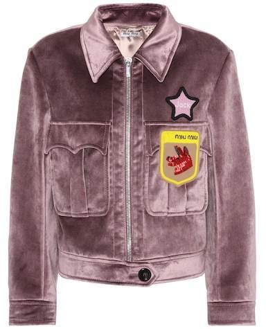 Miu Miu Velvet beaded appliqué jacket