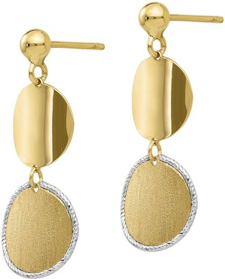 Italian Gold Two-Tone Satin Double Circle Earrings, 14K