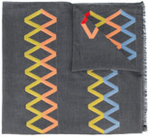 Paul Smith embroidered zig zag scarf - men - Cotton/Polyester/Modal/Viscose - One Size