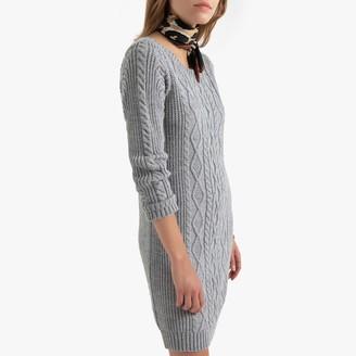 Naf Naf Short Cable Jumper Dress with Long-Sleeves