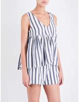 Three Graces London Ladies Black&White Striped Breathable Belinda Linen And Cotton-Blend Top