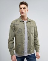 Asos Overshirt With Revere Collar In Green