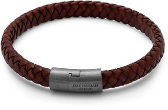 Tateossian Men's Braided Leather & Rhodium-Plated Bracelet, Size M-L