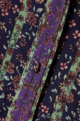 Veronica Beard Xanita Floral-print Crepe De Chine Mini Dress - Purple