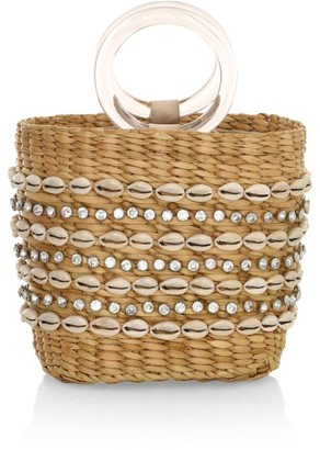 Poolside The Mak Shell-Embellished Woven Tote