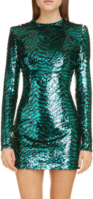 Balmain Zebra Sequin Long Sleeve Minidress