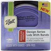 Ball Design Series Lids and Bands (6 lids and bands) Purple. BPA Free