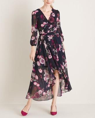 Eliza J Midi Wrap Dress with High-Low Hem