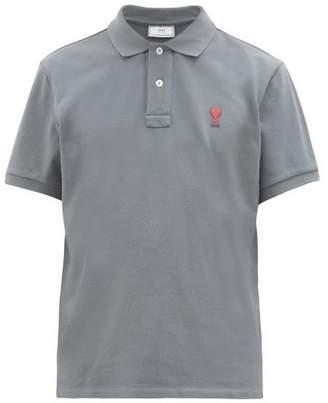 Ami Logo-appliqued Cotton Pique Polo Shirt - Mens - Blue